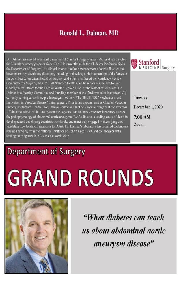 Dr. Ron Dalman Grand Round Talk Flyer, Stanford Vascular Surgery